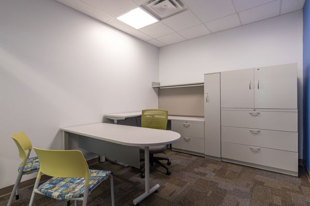 Client Site, Private Office with d-top freestanding worksurface, height adjustable return and L Series steel storage, Pierce and Natick seating