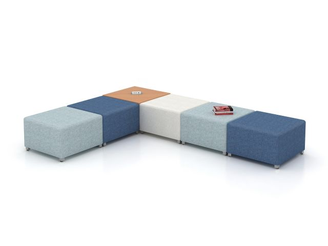 LB Lounge Idea Starter 8, Ottomans with Power Table