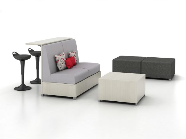 LB Lounge with Ledge, Ottoman and Table