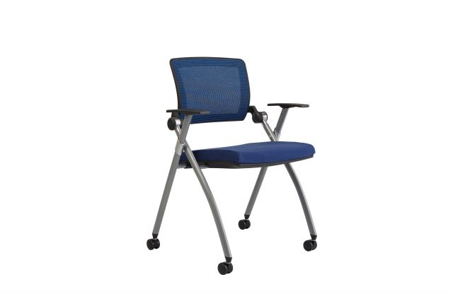 Stow Multipurpose Chair with Blue Mesh, front quarter view