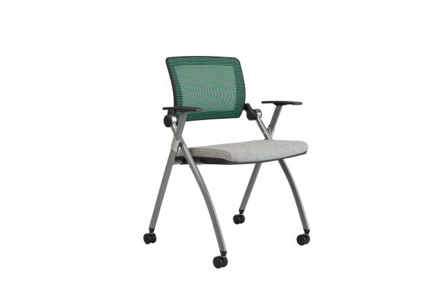 Stow Multipurpose Chair with Green Mesh and Camira Blazer Silverdale seat, front quarter view