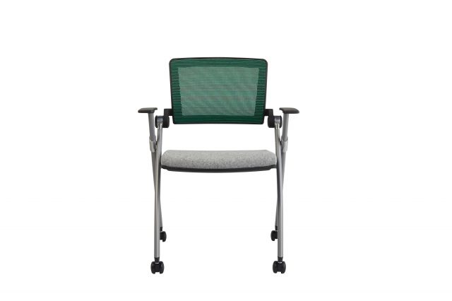 Stow Multipurpose Chair with Green Mesh and Camira Blazer Silverdale seat, front view
