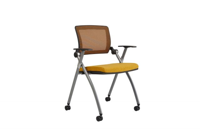 Stow Multipurpose Chair with Orange Mesh and Camira Blazer Wesley Fabric, Front Quarter View