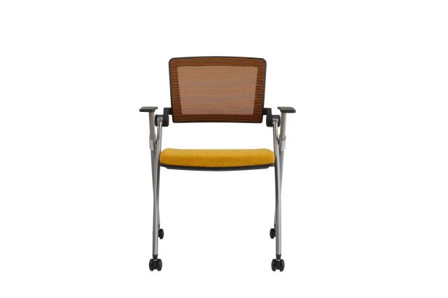 Stow Multipurpose Chair with Orange Mesh and Camira Blazer Wesley Seat; front view