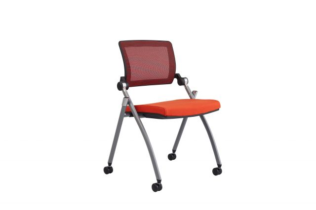 Stow Multipurpose Seating with Red Mesh and Camira Blazer Goldsmith Seat, Front Quarter View