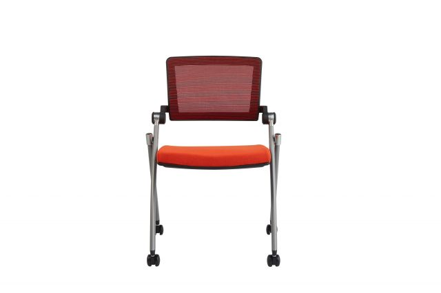 Stow Multipurpose Seating with Red Mesh and Camira Blazer Goldsmith Seat, Front View