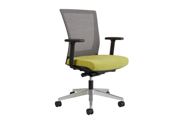 Upton task chair with aluminum base, white-black striped mesh back, Camira Blazer Dunhurst seat, 3/4 view