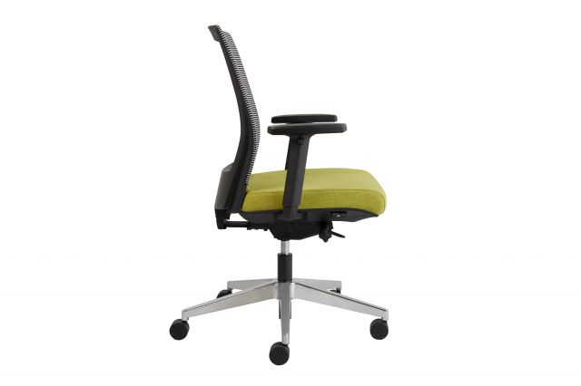 Upton task chair with aluminum base, white-black striped mesh back, Camira Blazer Dunhurst seat, side view