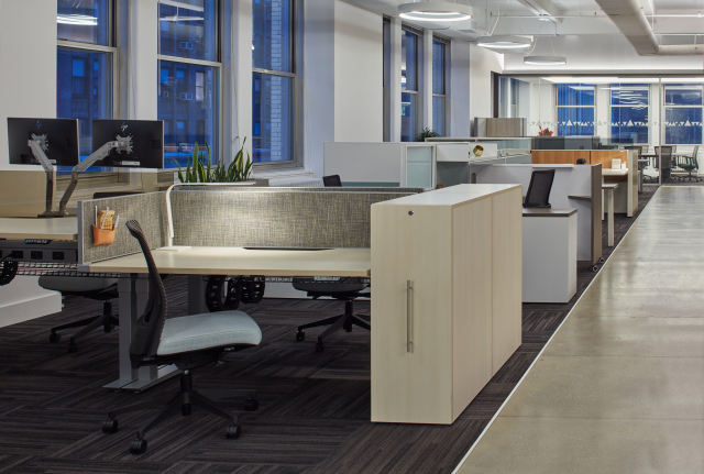 New York Showroom Workstations with Aloft Height Adjustable Desking, Calibrate Series Pullout Storage, and Upton Task Seating
