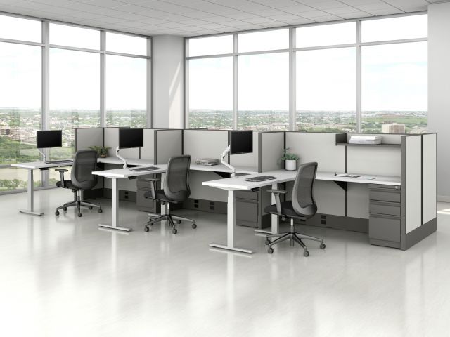 Divi Open Plan Panel System Fast Track with Height Adjustable Tables