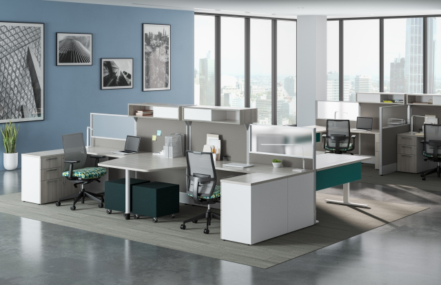 Divi Open Plan Panel System with keytop worksurface, Calibrate storage, and Devens Task Seating