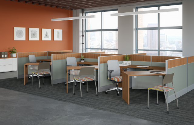 Divi Open Plan Panel System Six Pack of Workstations and 120 degree worksurfaces with Bolton and Pierce Seating