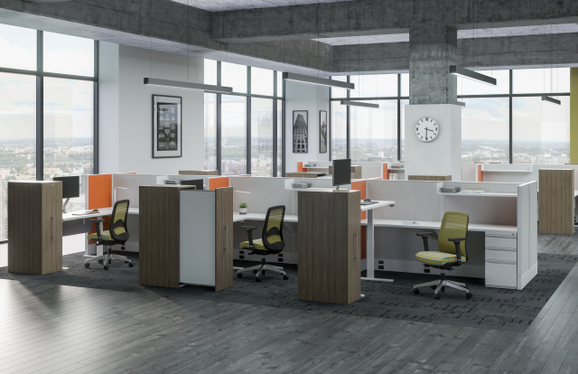 Divi Open Plan Panel System with with Height Adjustable Tables, Calibrate Pullout Storage and Bolton Task Seating