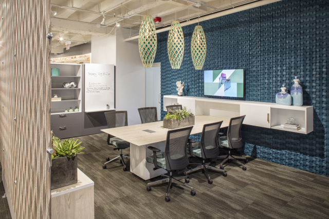 NeoCon 17 Custom Calibrate Conferencing Table, Custom Wall Credenza with Upton Task Seating