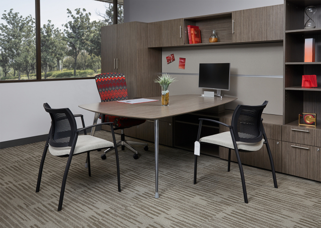 AIS Corporate Showroom Calibrate Series Casegoods Private Office with Natick Fully Upholstered Task Seating and Grafton Side Seating