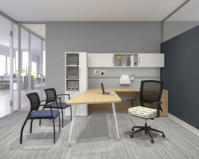 Calibrate Series Casegoods Private Office with Natick Task Seating and Grafton Side Seating