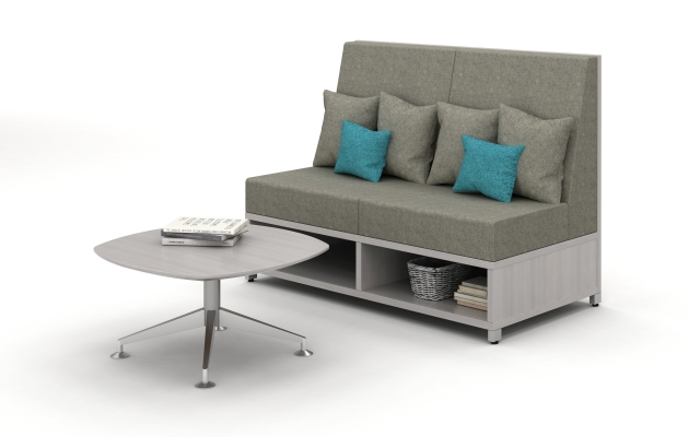 Day to Day Pebble Top Low Table with X Base and shown with LB Lounge