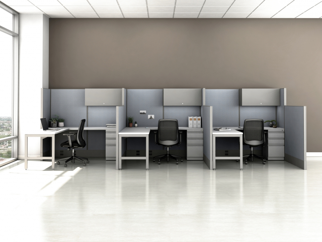 Divi Open Plan Panel System Fast Track Three Workstation
