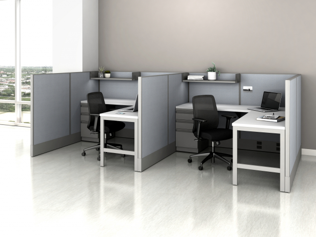 Divi Open Plan Panel System Fast Track Two Workstation