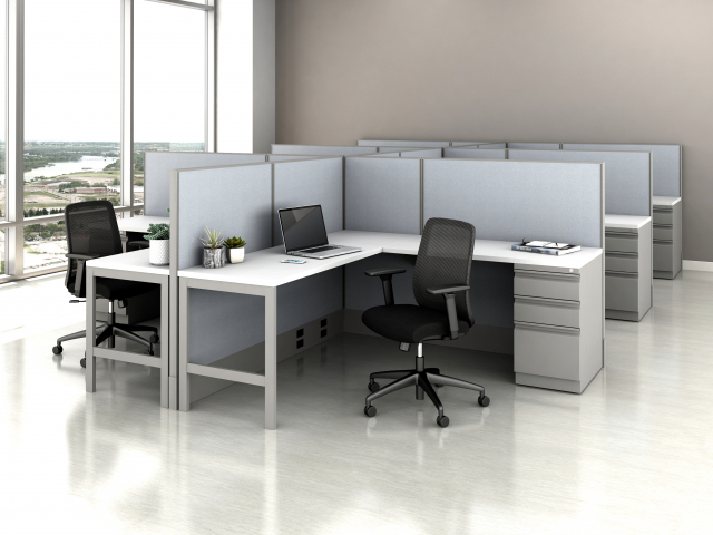 Divi Open Plan Panel System Fast Track Open Six Workstation