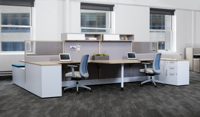 Divi Open Plan Panel System Shared Keytop Workstation