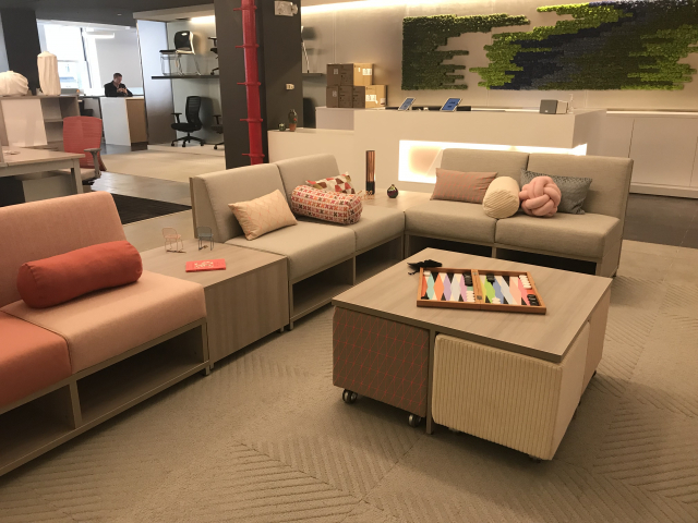LB Lounge Lowback Seating with Volker Seating and Table NY Showroom