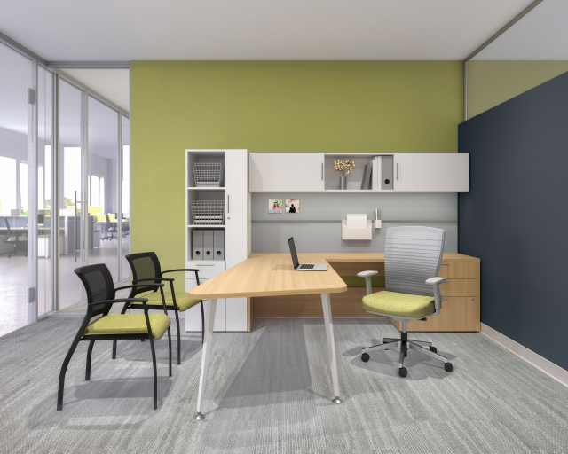 Calibrate Private Casegoods Office with Natick Task Seating and Grafton Side Seating2